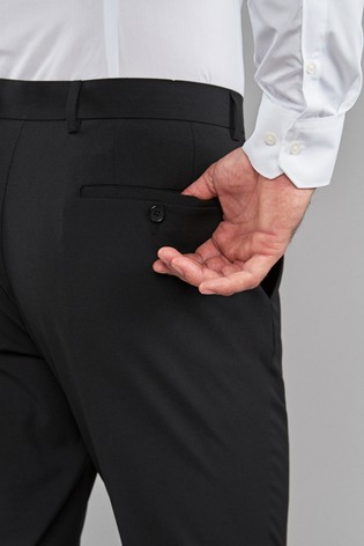 Black Regular Fit Stretch Formal Trousers