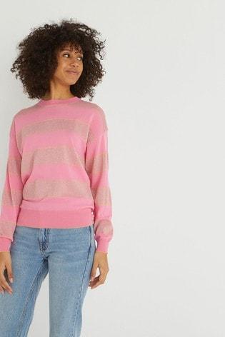 Oliver Bonas Pink Sparkle Stripe Knitted Jumper