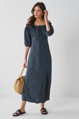Navy Tencel™ Puff Sleeve Dress