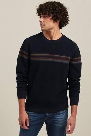 FatFace Blue Shawford Stripe Crew Sweater