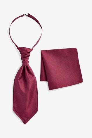 Burgundy Silk Cravat And Pocket Square Set