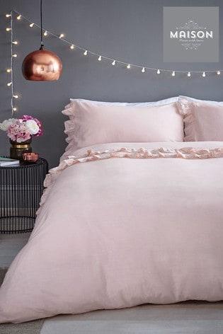 Maison Stone Wash Ruffle Cotton Duvet Cover And Pillowcase Set