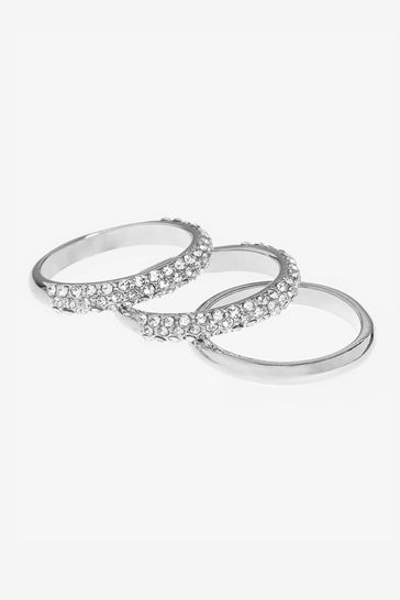 Silver Tone Pave Rings 3 Pack