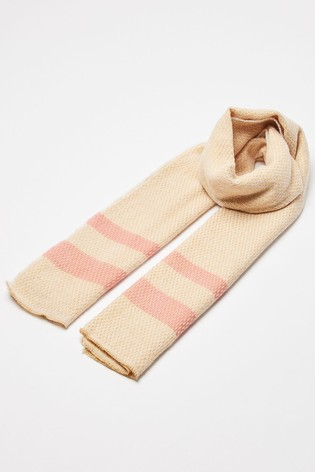 Oliver Bonas Natural Honeycomb Camel Knitted Scarf