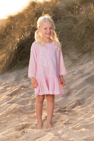 Trotters London Pink Embroidered Kaftan