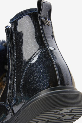Navy Sparkle Warm Lined Lace-Up Boots (Younger)