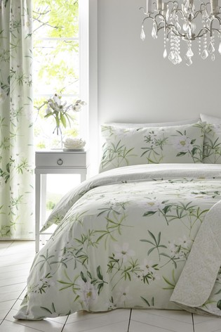 D&D Green Florence Floral Duvet Cover And Pillowcase Set