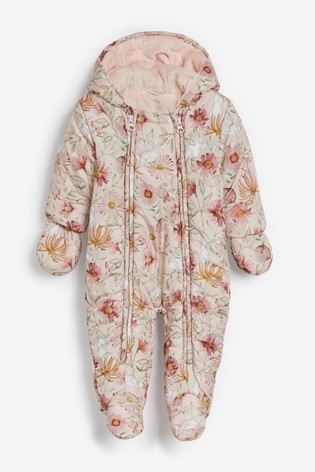 Pink Floral Character Print Pramsuit (0mths-2yrs)