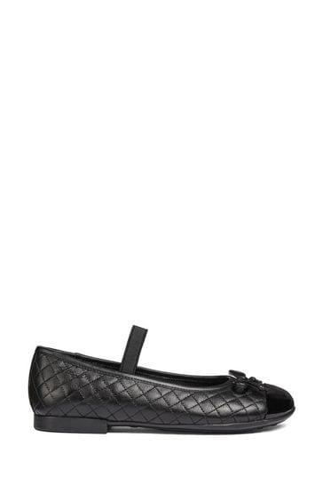 Geox Black Quilted Ballerina Shoe