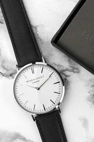 Personalised Men's Modern Vintage Black Leather Watch by Treat Republic