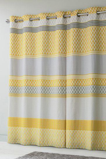 Ochre Mini Geo Stripe Eyelet Blackout/Thermal Curtains