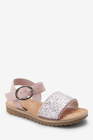 Pink Glitter Buckle Sandals (Younger)