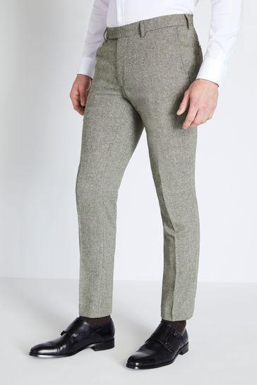 Moss London Green Skinny Fit Sage Herringbone Tweed Trouser