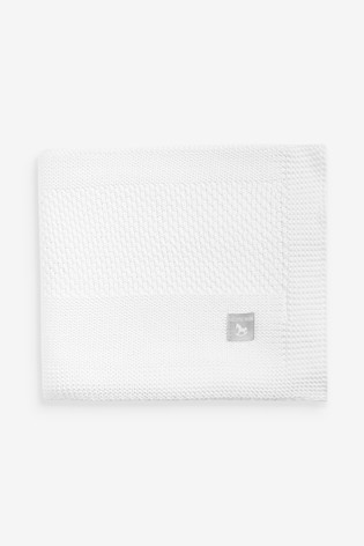 The Little Tailor White Textured Stripe Baby Shawl Blanket