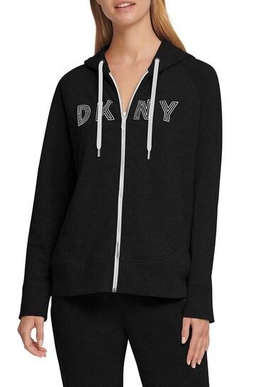 DKNY Black Logo Zip Through Hoody