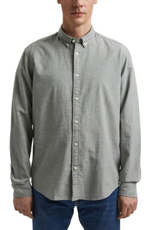 Esprit Green Cotton Linen Chambray Shirt