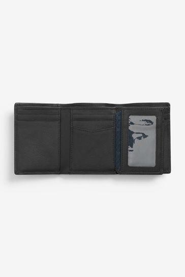 Black Signature Italian Leather Extra Capacity Trifold Wallet