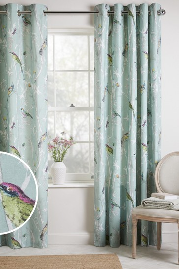 Blue/Green Chinoiserie Bird Trail Country Luxe Eyelet Lined Curtains
