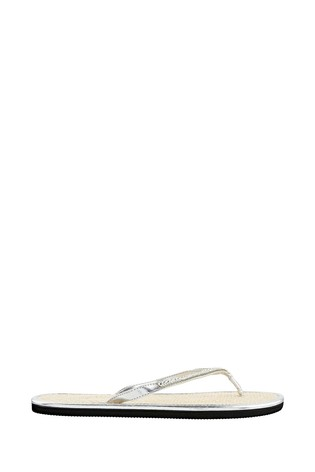Accessorize Crystal Silver Seagrass Flip Flops