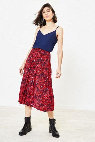 Oasis Multi Red Heart Print Midi Skirt