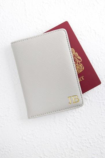 Grey Personalised Grey Passport Holder