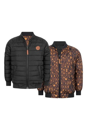 Kids Black & Leopard Reversible Insulator Jacket