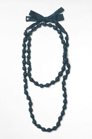 White Stuff Blue Long Fabric Necklace
