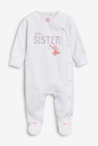 White Little Sister Embroidered Sleepsuit (0-18mths)