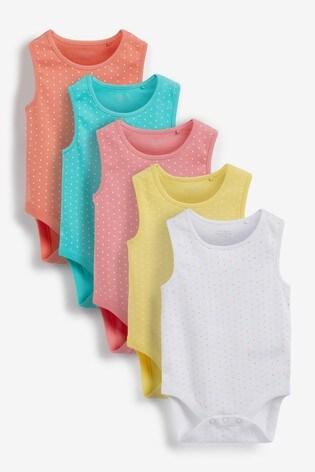 Bright Spot 5 Pack Vest Bodysuits (0mths-3yrs)