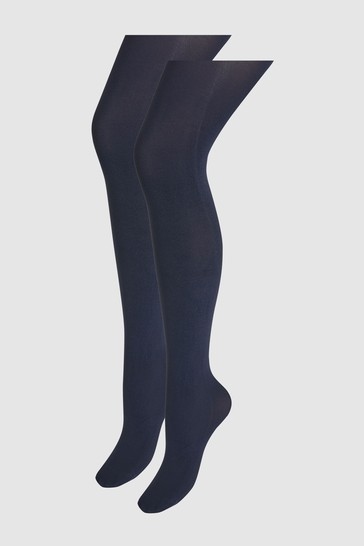 Navy 60 Denier Luxe Opaque Tights Two Pack