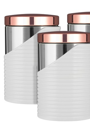 Set of 3 Tower White And Rose Gold Canisters