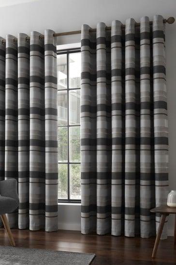 Catherine Lansfield Grey Powel Jacquard Stripe Eyelet Curtains