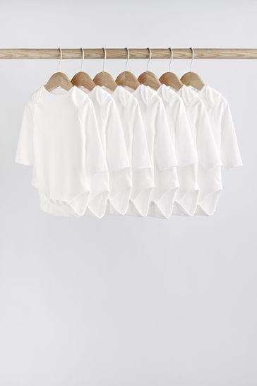 White 7 Pack GOTS Organic Long Sleeve Bodysuits (0mths-3yrs)