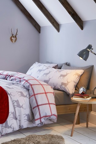 Catherine Lansfield Brushed Cotton Flannel Stag Duvet Cover and Pillowcase Set