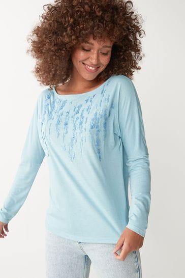 Blue Embellished Dolman Long Sleeve Top