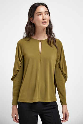 Green Rouched Sleeve Blouse