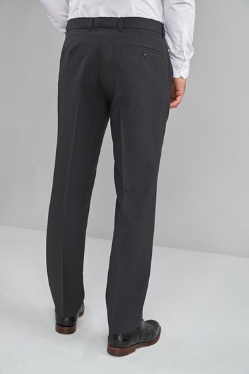 Charcoal Regular Fit Machine Washable Plain Front Trousers
