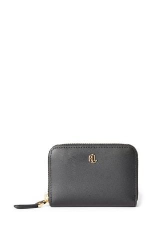 Lauren Ralph Lauren® Black Pebble Leather Zip Purse
