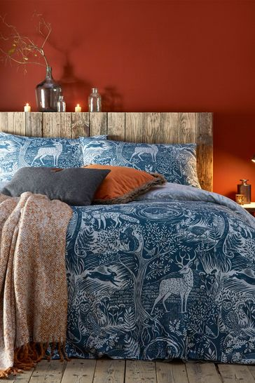 Winter Woods Reversible Duvet Cover and Pillowcase Set by Furn