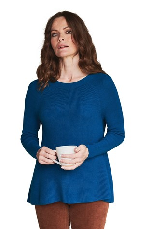 Pure Collection Teal Cashmere Ribbed Swing Sweater