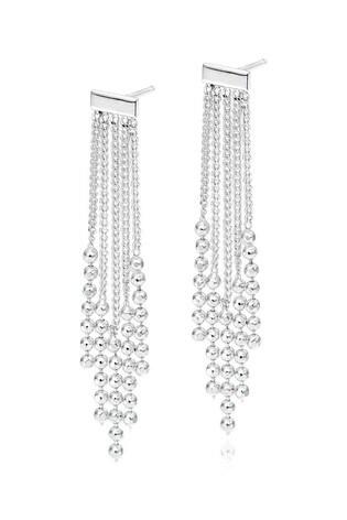 Beaverbrooks Silver Tassel Drop Earrings