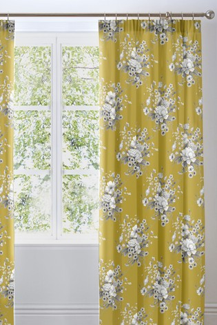 D&D Yellow Mirabella Country Floral Pencil Pleat Lined Curtains