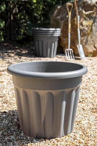 Set of 5 Wham Vista 50cm Black Plastic Round Planter