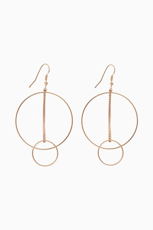 Gold Tone Circle Line Drop Earrings