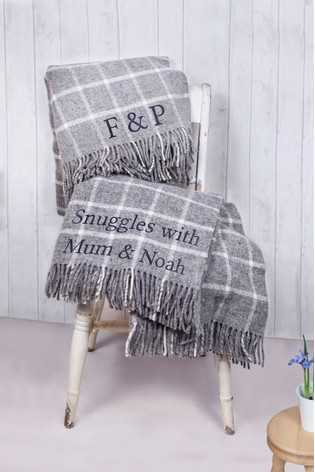 Personalised Grey Wool Check Throw by Jonny's Sister