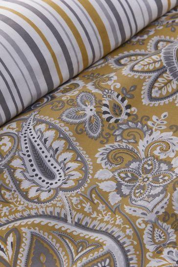 D&D Yellow Maduri Damask Duvet Cover And Pillowcase Set