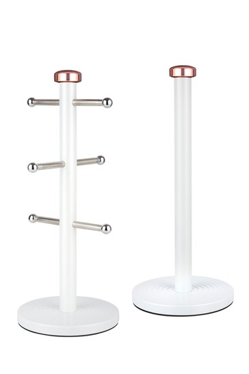 Set of 2 Tower White And Rose Gold Mug Tree And Towel Holder