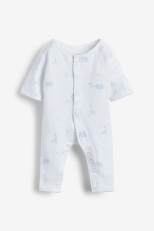 Pale Blue 3 Pack GOTS Organic Premature Sleepsuits (0-0mths)