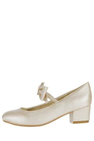 Monsoon Gold Alba Bow Strap Charleston Shoe