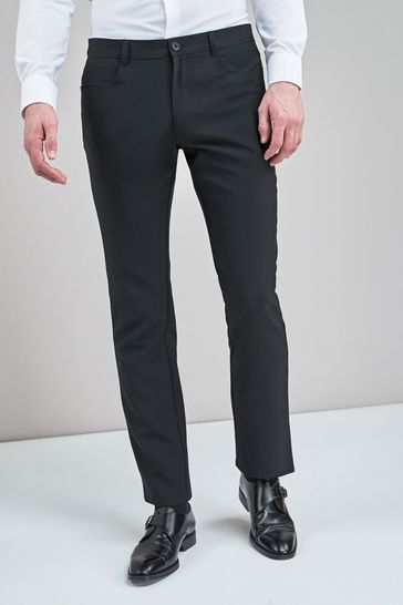 Black Slim Fit Five Pocket Jean Style Trousers